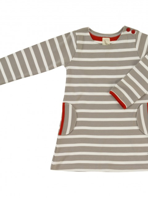Girls grey and white stripy dress
