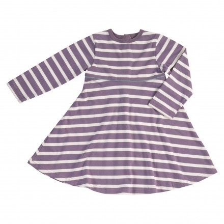 Girls striped dress in plum