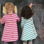 Striped dresses in pink and green