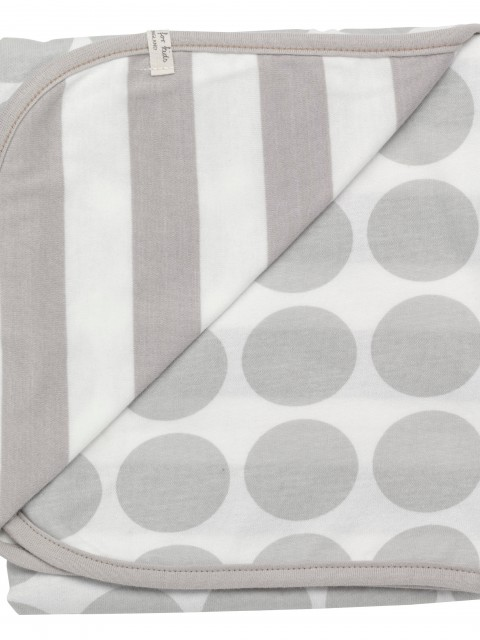 Organic cotton blanket with taupe spots and stripes