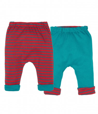 Reversible trousers - teal and red striped versions